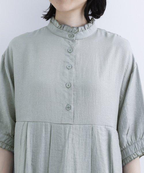 merlot(メルロー)/【plus】レーヨン混バルーンスリーブフリル襟ワンピース/00010012-878210007572_img07