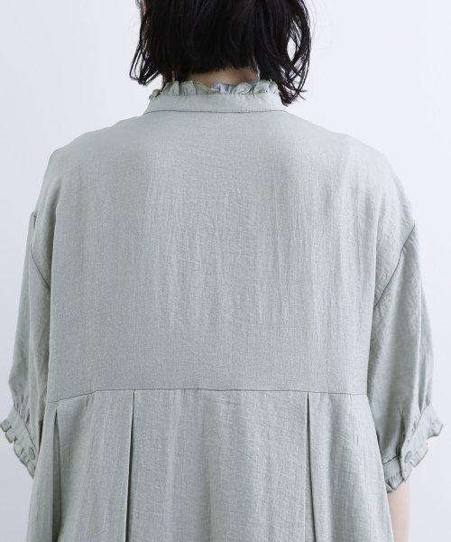 merlot(メルロー)/【plus】レーヨン混バルーンスリーブフリル襟ワンピース/00010012-878210007572_img10
