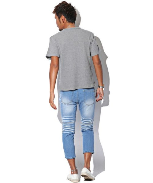 LUXSTYLE(ラグスタイル)/ミニワッフル素材ヘンリーネックTシャツ/pm-5955_img02