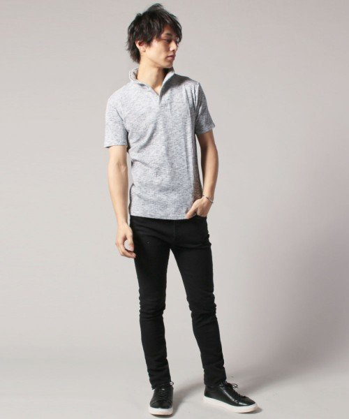 THE CASUAL(ザ カジュアル)/(スプ) SPU ランダムテレコ襟ワイヤースキッパー半袖ポロシャツ/buy190197_img04