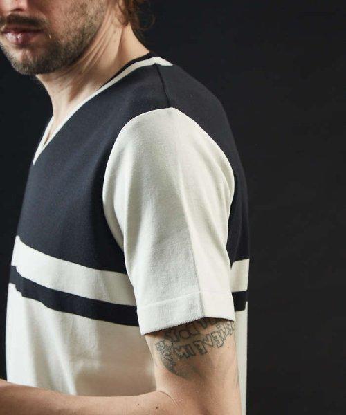5351POURLESHOMMES(5351POURLESHOMMES)/シルケットコットンVネックTシャツ/02380041002_img20