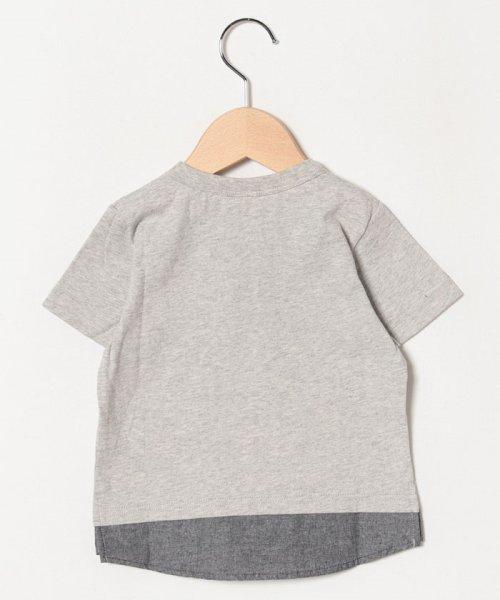 petit main(プティマイン)/星アップリケ裾シャツレイヤード風Tシャツ/9591232_img01