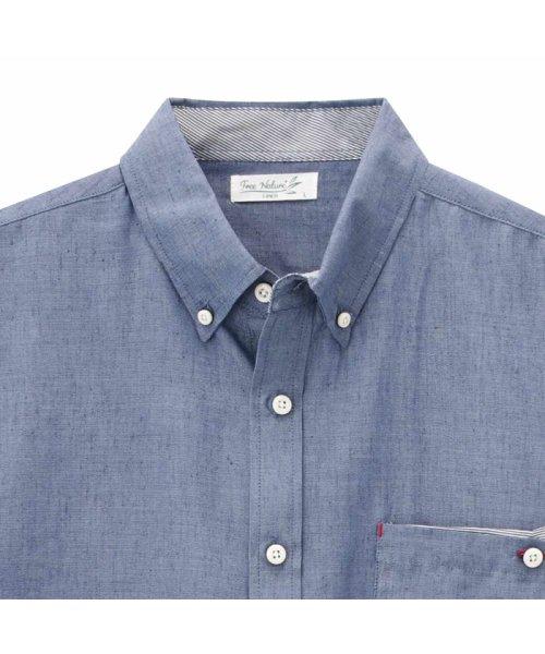 MAC HOUSE(men)(マックハウス(メンズ))/Free Nature Linen ボーダーポケット付きシャツ 391104MH/01215100112_img01