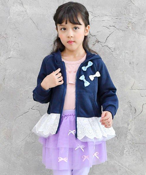 子供服Bee(子供服Bee)/レース切替え胸リボンパーカー/taa05167_img01