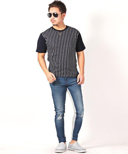 LUXSTYLE(ラグスタイル)/フロントマルチストライププリント半袖Tシャツ/pm-8191_img04