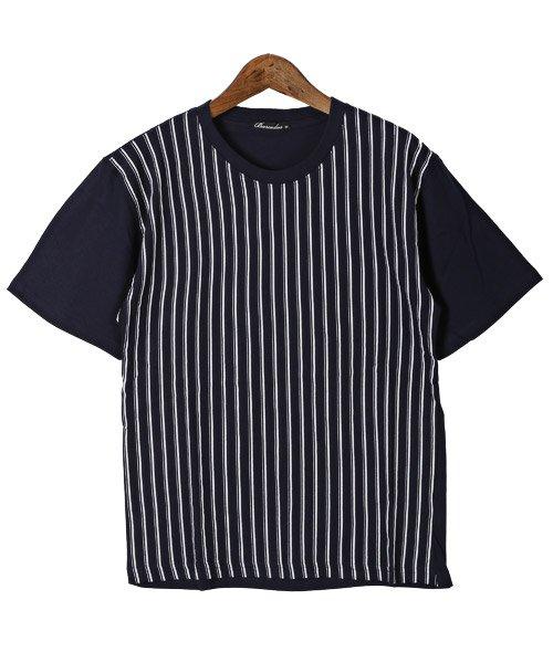 LUXSTYLE(ラグスタイル)/フロントマルチストライププリント半袖Tシャツ/pm-8191_img05