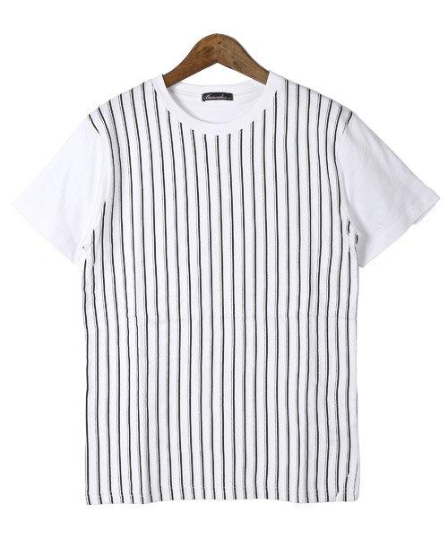 LUXSTYLE(ラグスタイル)/フロントマルチストライププリント半袖Tシャツ/pm-8191_img06