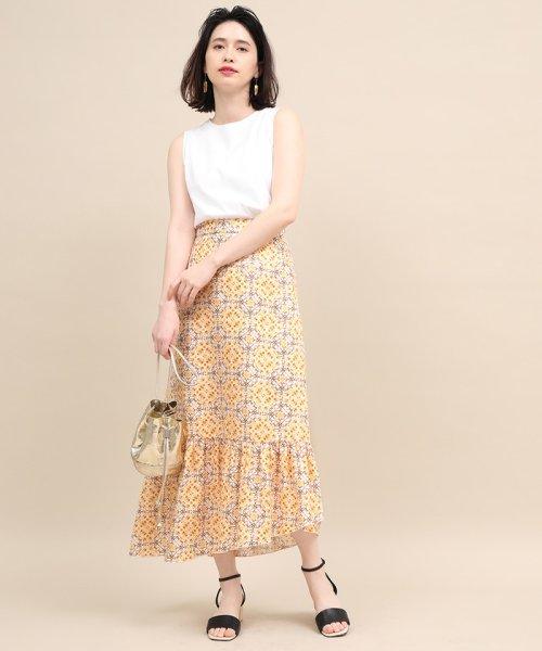 ROPE' mademoiselle(ロペ マドモアゼル)/【セットアップ対応】モザイクパターンアシメスカート/GWC49130_img01
