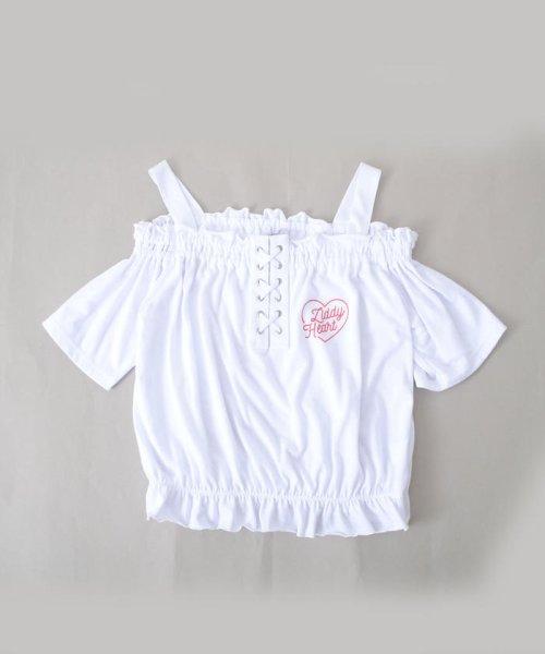ZIDDY(ジディー)/【ニコプチ掲載】オフショル編み上げTシャツ/123512510_img01