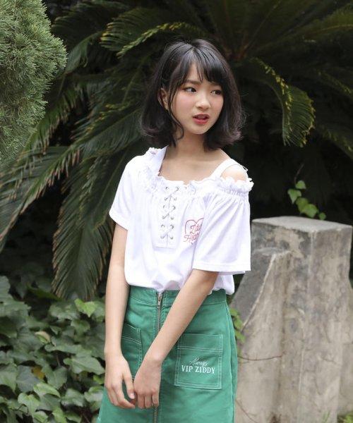 ZIDDY(ジディー)/【ニコプチ掲載】オフショル編み上げTシャツ/123512510_img12