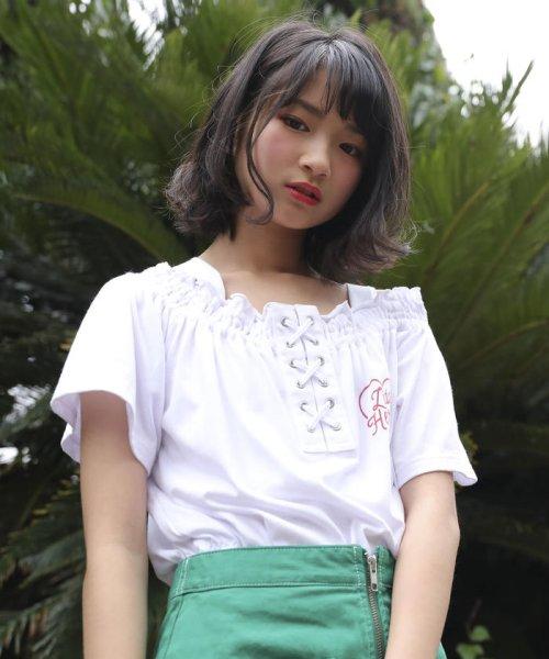 ZIDDY(ジディー)/【ニコプチ掲載】オフショル編み上げTシャツ/123512510_img14