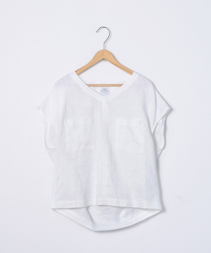 coen フレンチリネンVネックシャツ