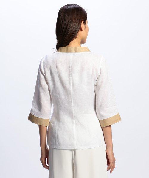 NARA CAMICIE(ナラカミーチェ)/フラワー刺繍ノーカラー七分袖ブラウス/109102268_img01
