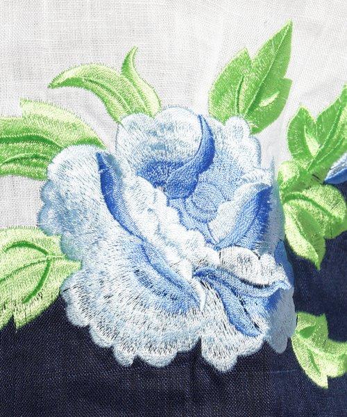NARA CAMICIE(ナラカミーチェ)/フラワー刺繍ノーカラー七分袖ブラウス/109102268_img02