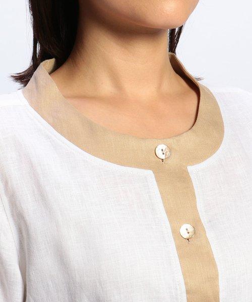 NARA CAMICIE(ナラカミーチェ)/フラワー刺繍ノーカラー七分袖ブラウス/109102268_img05