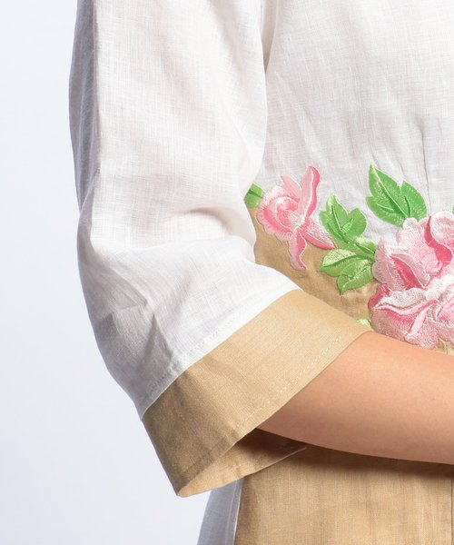 NARA CAMICIE(ナラカミーチェ)/フラワー刺繍ノーカラー七分袖ブラウス/109102268_img06