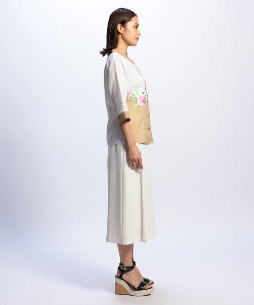 NARA CAMICIE(ナラカミーチェ)/フラワー刺繍ノーカラー七分袖ブラウス/109102268_img10
