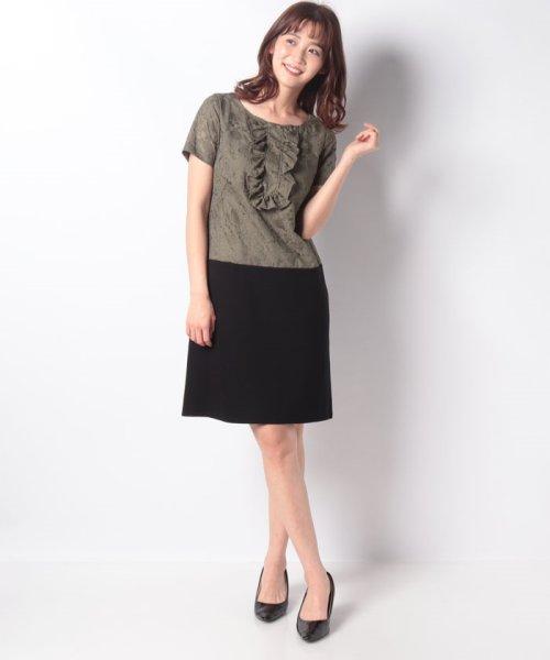 MISS J(ミス ジェイ)/刺繍入りスパンボイル×ポンチドッキング ドレス/631564_img03