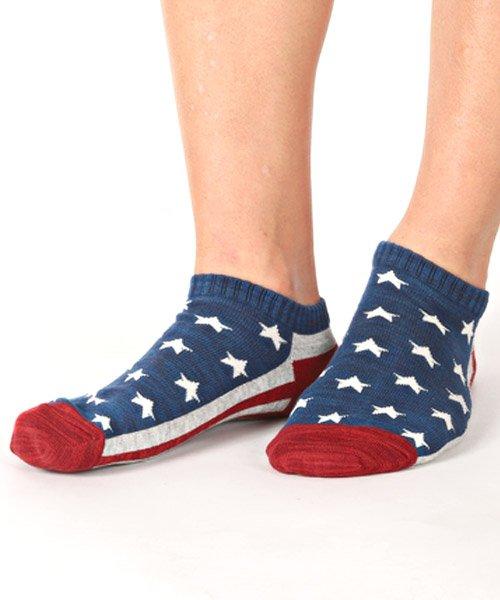 LUXSTYLE(ラグスタイル)/Healthknit(ヘルスニット)アメリカンフラッグショートソックス 3足セット/靴下 ソックス メンズ くつした くるぶし 星条旗 アメリカ国旗/pm-8406_img01