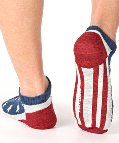 LUXSTYLE(ラグスタイル)/Healthknit(ヘルスニット)アメリカンフラッグショートソックス 3足セット/靴下 ソックス メンズ くつした くるぶし 星条旗 アメリカ国旗/pm-8406_img02