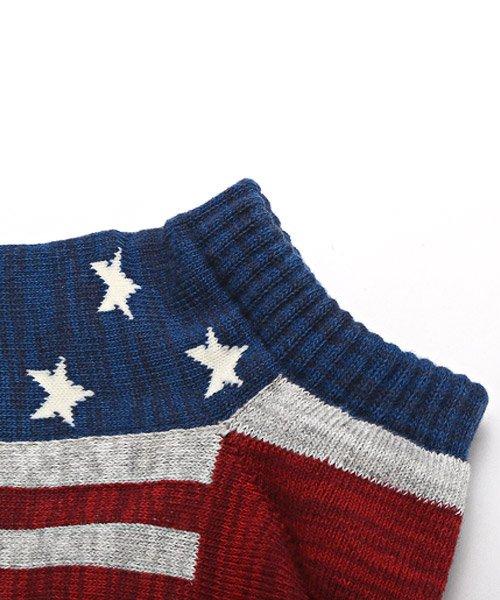 LUXSTYLE(ラグスタイル)/Healthknit(ヘルスニット)アメリカンフラッグショートソックス 3足セット/靴下 ソックス メンズ くつした くるぶし 星条旗 アメリカ国旗/pm-8406_img05