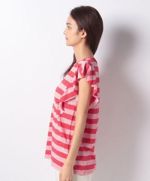 SISLEY(シスレー(レディス))/ミックスボーダーフリルスリーブTシャツ/19P3NU7L12IS_img01