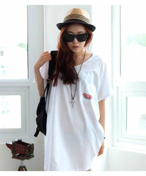 felt maglietta(フェルトマリエッタ)/バックプリントロゴロング丈Tシャツ/3652_img04