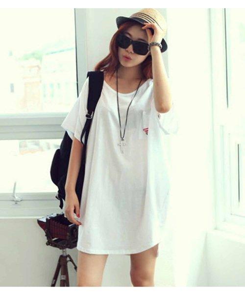 felt maglietta(フェルトマリエッタ)/バックプリントロゴロング丈Tシャツ/3652_img08