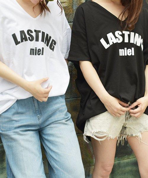 felt maglietta(フェルトマリエッタ)/シンプルロゴ両VネックオーバーTシャツ/am141_img05