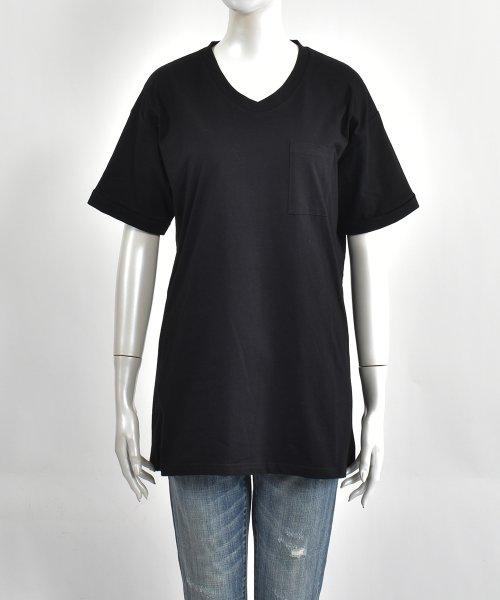 felt maglietta(フェルトマリエッタ)/コットン素材バック英字プリントTシャツ/am200_img01