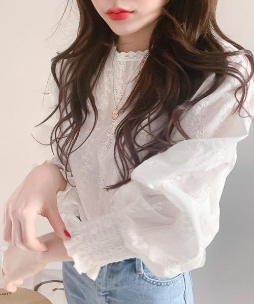 felt maglietta(フェルトマリエッタ)/刺繍レースブラウス/am220_img02