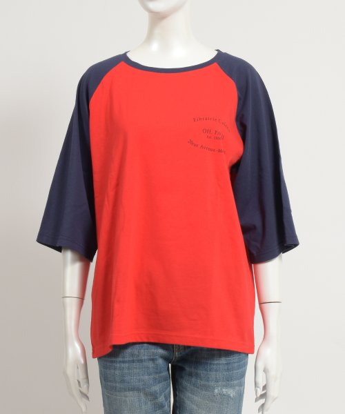 felt maglietta(フェルトマリエッタ)/ゆったり着れるバイカラーロゴTシャツ/am221_img01