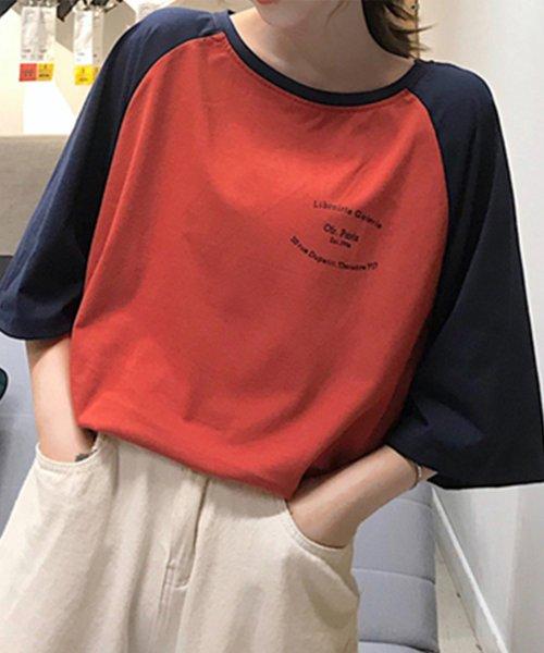 felt maglietta(フェルトマリエッタ)/ゆったり着れるバイカラーロゴTシャツ/am221_img07