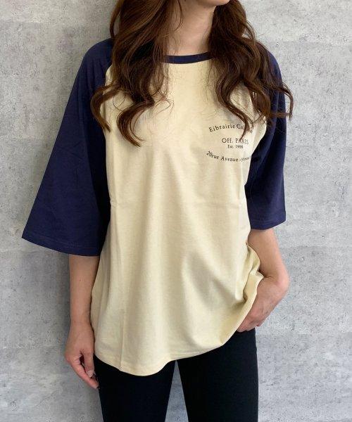 felt maglietta(フェルトマリエッタ)/ゆったり着れるバイカラーロゴTシャツ/am221_img09