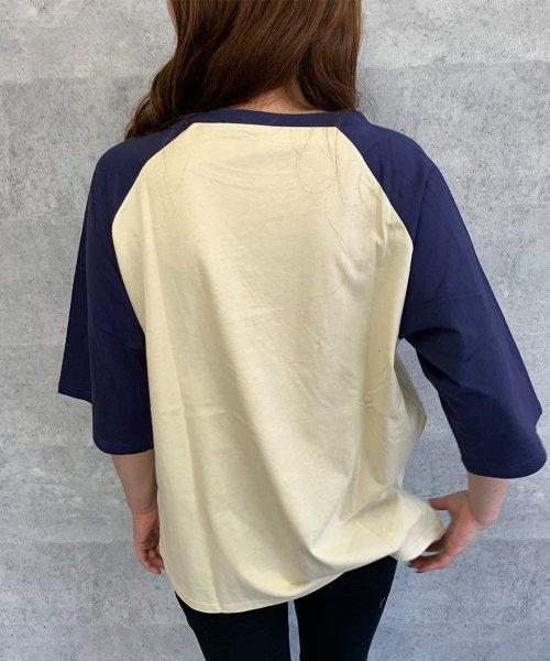 felt maglietta(フェルトマリエッタ)/ゆったり着れるバイカラーロゴTシャツ/am221_img10
