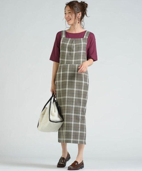socolla(ソコラ)/【socolla】先染めチェックサイドスリットジャンパースカート/212185009_img10