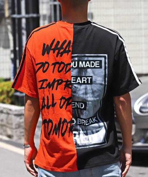 LUXSTYLE(ラグスタイル)/袖ラインロゴ&フォトプリントドッキングBIGTシャツ/Tシャツ メンズ 半袖 ロゴ プリント ビッグシルエット/pm-8575_img01