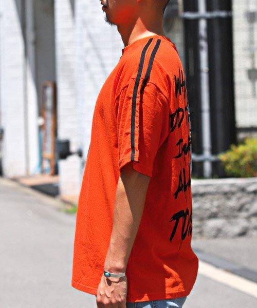 LUXSTYLE(ラグスタイル)/袖ラインロゴ&フォトプリントドッキングBIGTシャツ/Tシャツ メンズ 半袖 ロゴ プリント ビッグシルエット/pm-8575_img02