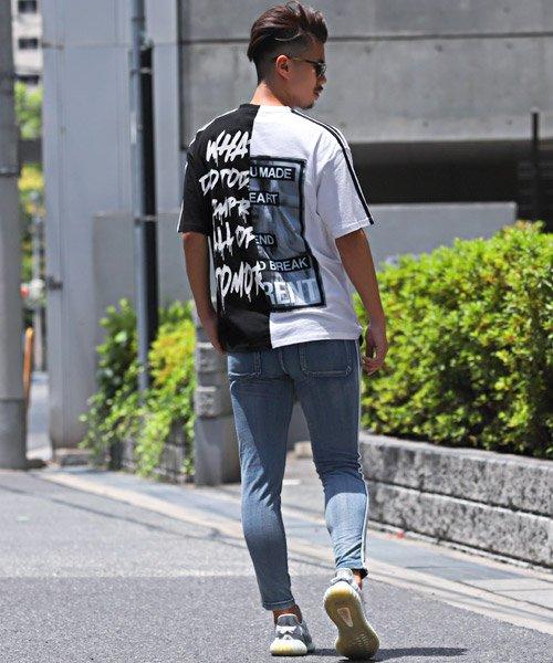 LUXSTYLE(ラグスタイル)/袖ラインロゴ&フォトプリントドッキングBIGTシャツ/Tシャツ メンズ 半袖 ロゴ プリント ビッグシルエット/pm-8575_img04