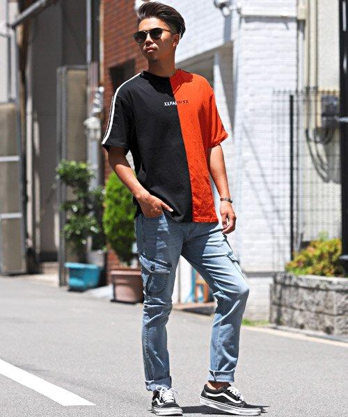 LUXSTYLE(ラグスタイル)/袖ラインロゴ&フォトプリントドッキングBIGTシャツ/Tシャツ メンズ 半袖 ロゴ プリント ビッグシルエット/pm-8575_img05