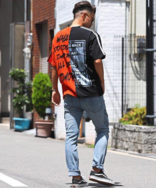 LUXSTYLE(ラグスタイル)/袖ラインロゴ&フォトプリントドッキングBIGTシャツ/Tシャツ メンズ 半袖 ロゴ プリント ビッグシルエット/pm-8575_img06