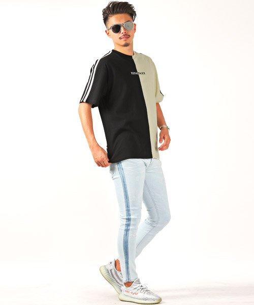 LUXSTYLE(ラグスタイル)/袖ラインロゴ&フォトプリントドッキングBIGTシャツ/Tシャツ メンズ 半袖 ロゴ プリント ビッグシルエット/pm-8575_img07