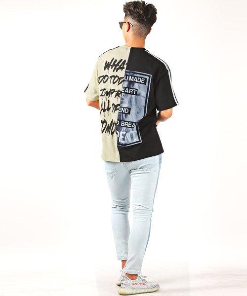 LUXSTYLE(ラグスタイル)/袖ラインロゴ&フォトプリントドッキングBIGTシャツ/Tシャツ メンズ 半袖 ロゴ プリント ビッグシルエット/pm-8575_img08