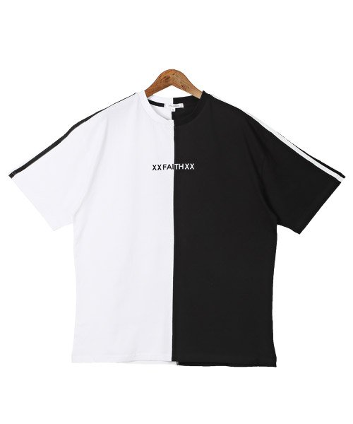 LUXSTYLE(ラグスタイル)/袖ラインロゴ&フォトプリントドッキングBIGTシャツ/Tシャツ メンズ 半袖 ロゴ プリント ビッグシルエット/pm-8575_img09