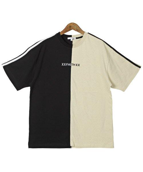 LUXSTYLE(ラグスタイル)/袖ラインロゴ&フォトプリントドッキングBIGTシャツ/Tシャツ メンズ 半袖 ロゴ プリント ビッグシルエット/pm-8575_img11