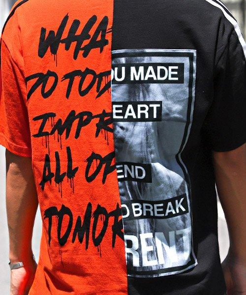 LUXSTYLE(ラグスタイル)/袖ラインロゴ&フォトプリントドッキングBIGTシャツ/Tシャツ メンズ 半袖 ロゴ プリント ビッグシルエット/pm-8575_img14