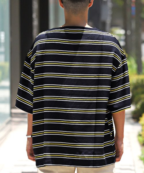 LUXSTYLE(ラグスタイル)/ボーダー柄ボートネック半袖Tシャツ/Tシャツ メンズ 半袖 5分袖 ボートネック ボーダー/pm-8610_img01