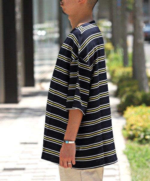LUXSTYLE(ラグスタイル)/ボーダー柄ボートネック半袖Tシャツ/Tシャツ メンズ 半袖 5分袖 ボートネック ボーダー/pm-8610_img02
