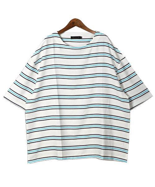 LUXSTYLE(ラグスタイル)/ボーダー柄ボートネック半袖Tシャツ/Tシャツ メンズ 半袖 5分袖 ボートネック ボーダー/pm-8610_img06