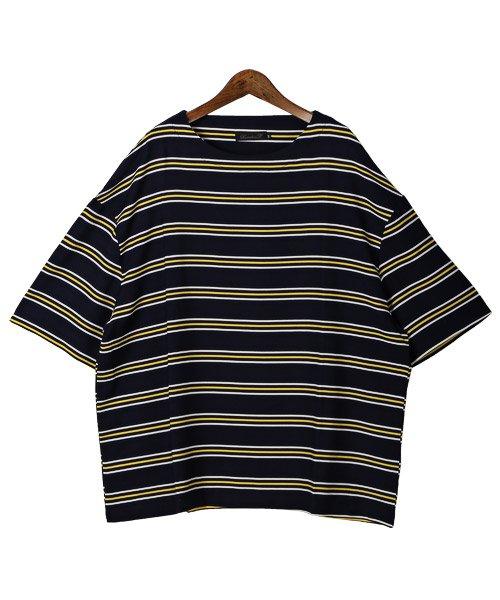 LUXSTYLE(ラグスタイル)/ボーダー柄ボートネック半袖Tシャツ/Tシャツ メンズ 半袖 5分袖 ボートネック ボーダー/pm-8610_img07